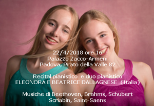 Eleonora e Beatrice Dallagnese, 22-4-2018